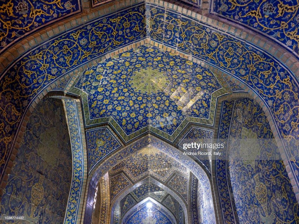 Sheikh Lotfollah Mosque interior, Isfahan, Iran : Foto de stock