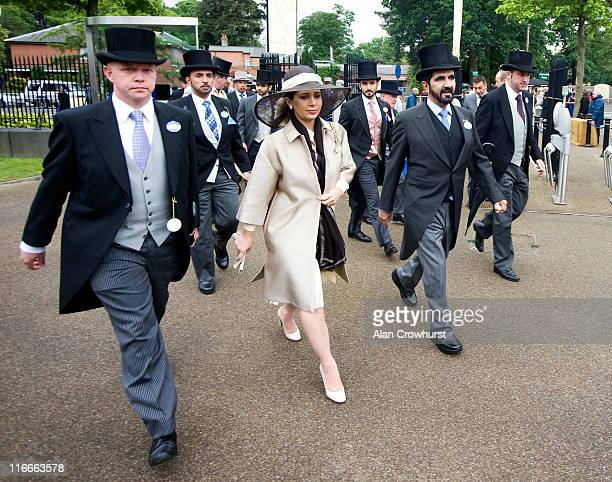 Sheikh Maktoum bin Rashid Al Maktoum arrives with Princess Haya of Jordan during day four of Royal Ascot at Ascot racecourse on June 17 2011 in Ascot...