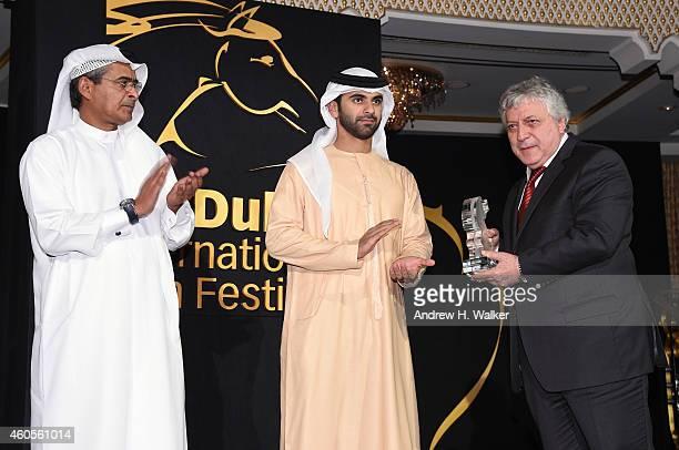 Sheikh Mansoor bin Mohammed bin Rashid Al Maktoum and DIFF Chairman Abdulhamid Juma Muhr Emirati and Shorts Jury president Mohammed Rouda on stage at...
