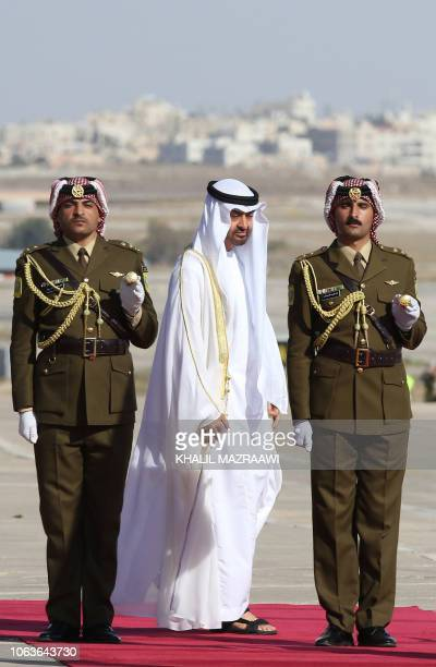 Sheikh Mohamed bin Zayed Al Nahyan Crown Prince of Abu Dhabi and Deputy Supreme Commander of the UAE Armed Forces reviews an honour guard during his...