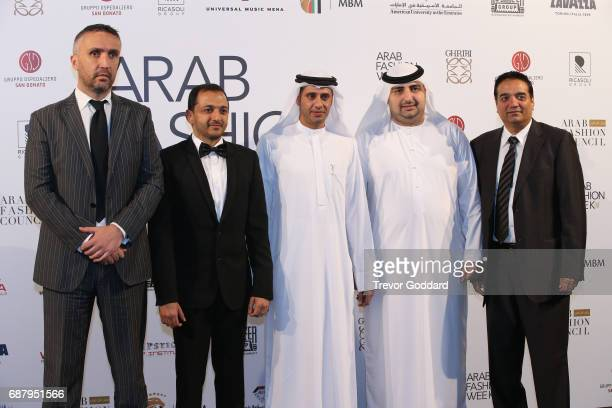 Sheikh Mohammed Bin Juma Al Maktoum and Jacob Abrian at the Arab Fashion Week Ready Couture Resort 2018 Gala Dinner on May 202017 at Armani Hotel in...