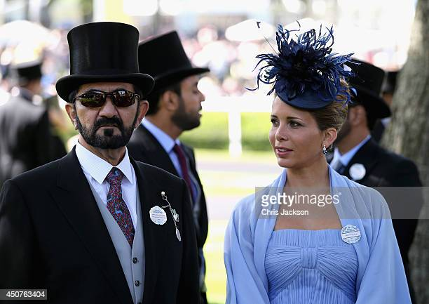 Sheikh Mohammed bin Rashid Al Maktoum and Princess Haya bint Al Hussein attend day one of Royal Ascot at Ascot Racecourse on June 17 2014 in Ascot...