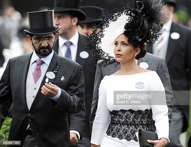 Sheikh Mohammed Bin Rashid Al Maktoum and Princess Haya Bint Al Hussein of Jordan attend Day 3 of Royal Ascot at Ascot Racecourse on June 19, 2014 in...