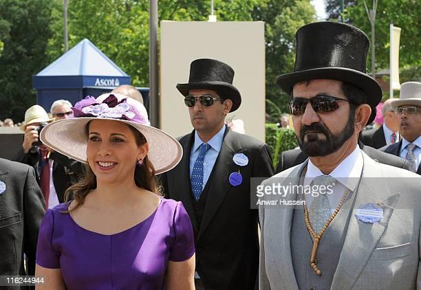 Sheikh Mohammed Bin Rashid Al Maktoum and Princess Haya Bint Al Hussein arrive on the first day of Royal Ascot on June 14 2011 in Ascot United Kingdom