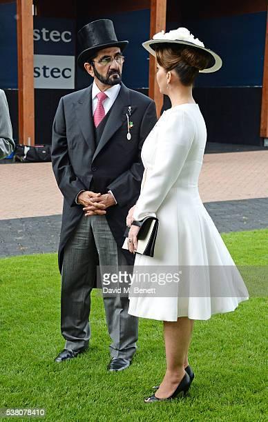 Sheikh Mohammed bin Rashid Al Maktoum and Princess Haya bint Al Hussein attend Derby Day during the Investec Derby Festival celebrating The Queen's...