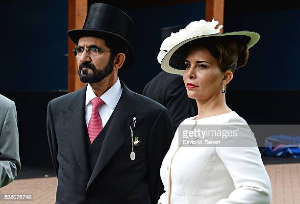 Sheikh Mohammed bin Rashid Al Maktoum and Princess Haya bint Al Hussein attend Derby Day during the Investec Derby Festival celebrating The Queen's...