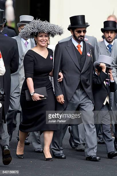 Sheikh Mohammed Bin Rashid Al Maktoum and Princess Haya bint Al Hussein attend the first day of The Royal Ascot race meeting on June 14 2016 in Ascot...