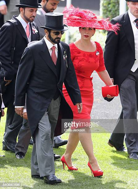 Sheikh Mohammed Bin Rashid Al Maktoum and Princess Haya bint Al Hussein attend the third day of Royal Ascot at Ascot Racecourse on June 15 2016 in...