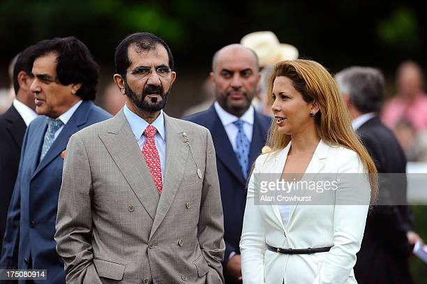 Sheikh Mohammed bin Rashid Al Maktoum and Princess Haya of Jordan are seen at Goodwood racecourse on July 31 2013 in Chichester England