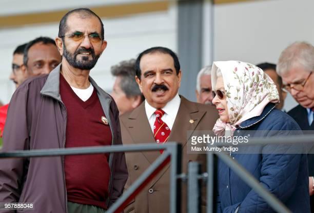 Sheikh Mohammed bin Rashid Al Maktoum, King Hamad bin Isa Al Khalifa of Bahrain and Queen Elizabeth II attend the Royal Windsor Endurance event in...