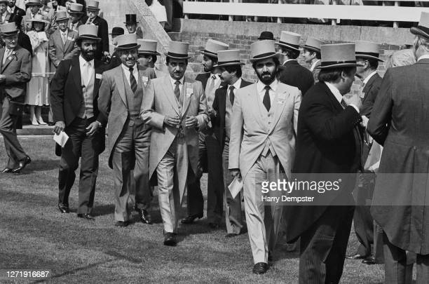 Sheikh Mohammed bin Rashid Al Maktoum of Dubai is among the spectators in the royal enclosure at Royal Ascot in Berkshire, UK, 18th June 1985.
