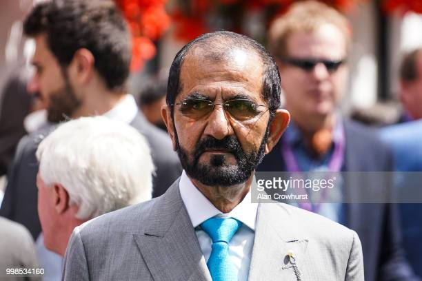 Sheikh Mohammed bin Rashid Al Maktoum poses at Newmarket Racecourse on July 14, 2018 in Newmarket, United Kingdom.