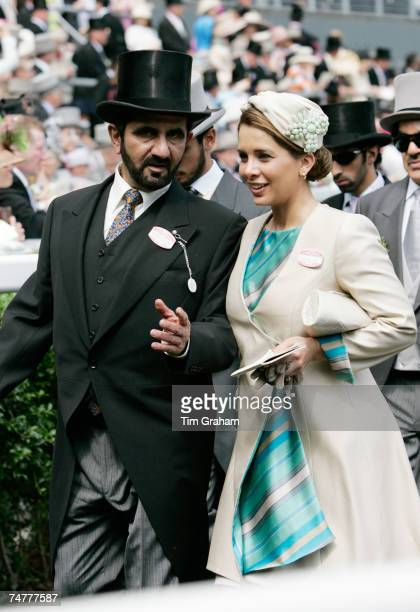 Sheikh Mohammed bin Rashid Al Maktoum ruler of Dubai with his wife Princess Haya bint al Hussein attend the first day of Royal Ascot Races on June 19...