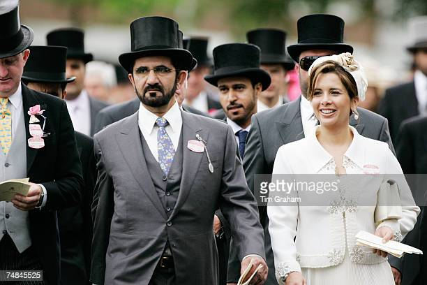 Sheikh Mohammed bin Rashid Al Maktoum ruler of Dubai with his wife Princess Haya bint al Hussein attend Ladies Day of Royal Ascot Races on June 21...