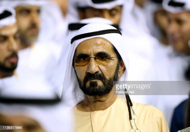 Sheikh Mohammed bin Rashid Al Maktoum , Vice President and Prime Minister of the UAE and Ruler of Dubai looks on during the Dubai World Cup at Meydan...
