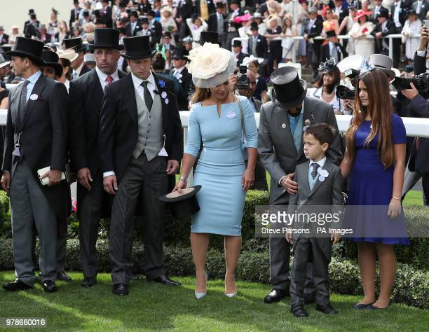 Sheikh Mohammed bin Rashid Al Maktoum with wife Princess Haya of Jordan, son Sheikh Zayed bin Mohammed bin Rashid Al Maktoum and daughter Sheikha Al...