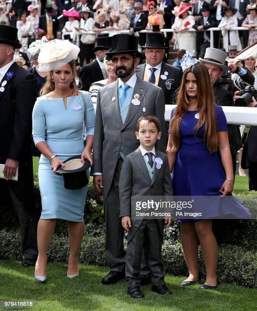 Sheikh Mohammed bin Rashid Al Maktoum with wife Princess Haya of Jordan son Sheikh Zayed bin Mohammed bin Rashid Al Maktoum and daughter Sheikha Al...