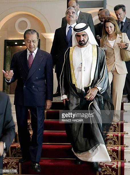 Sheikh Mohammed Bin Rashid alMaktoum Crown Prince of Dubai and UAE Defense Minister and former Malaysian Prime Minsiter Mathir Mohamed arrive at the...