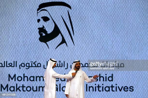 Sheikh Mohammed bin Rashid alMaktoum Prime Minister of the United Arab Emirates and ruler of Dubai addresses an audience on October 4 2015 during the...