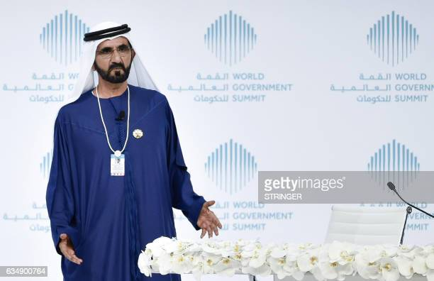 Sheikh Mohammed bin Rashid alMaktoum VicePresident and Prime Minister of the UAE and Ruler of Dubai gives a speech during a special session on 'How...