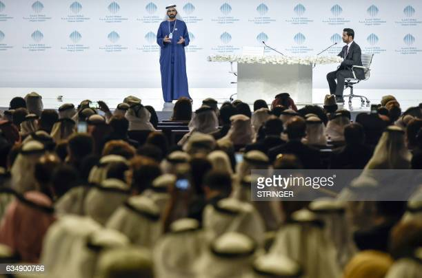 Sheikh Mohammed Bin Rashid alMaktoum VicePresident and Prime Minister of the UAE and Ruler of Dubai gives a speech in the presence of Sheikh Mohammad...