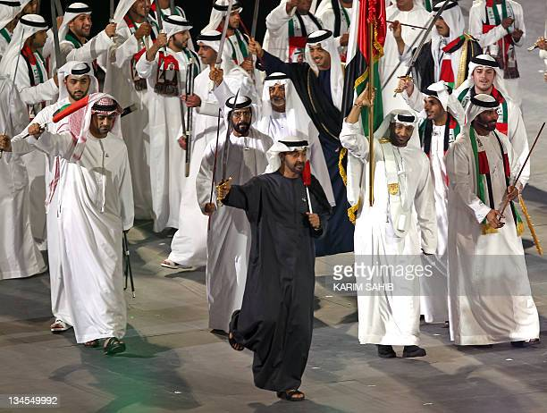 Sheikh Mohammed bin Zayed alNahayan Crown Prince of Abu Dhabi and Emirati deputy chief of staff takes part in celebrations marking the 40th...