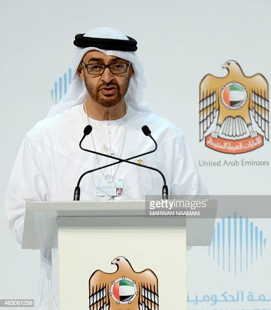 Sheikh Mohammed bin Zayed alNahyan Crown Prince of Abu Dhabi and the UAE's deputy commanderinchief of the armed forces gives a speech during the...