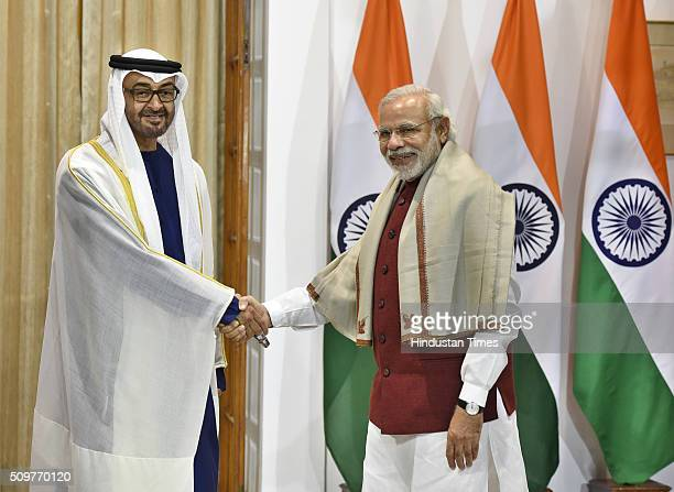 Sheikh Mohammed bin Zayed alNahyan Crown Prince of Abu Dhabi and UAE deputy commanderinchief of the armed forces with Prime Minister Narendra Modi...