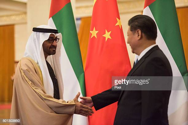 Sheikh Mohammed bin Zayed al-Nahyan , Crown Prince of Abu Dhabi and UAE's deputy commander-in-chief of the armed forces meets Chinese President Xi...