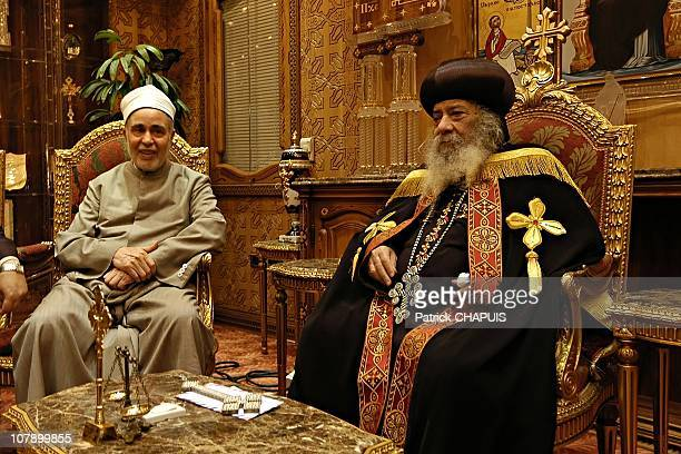 Sheikh Mohammed Sayed Tantawi Grand Imam of alAzhar Mosque meets Pope Shenouda III of Alexandria on May 24 2006 in Cairo Egypt Egyptian authorities...