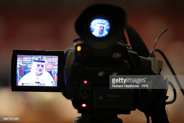 E Sheikh Nahayan Mabarak Al Nahayan Chairman of the LOC for the FIFA U17 World Cup UAE 2013 is seen through a TV camera viewfinder as he speaks to...