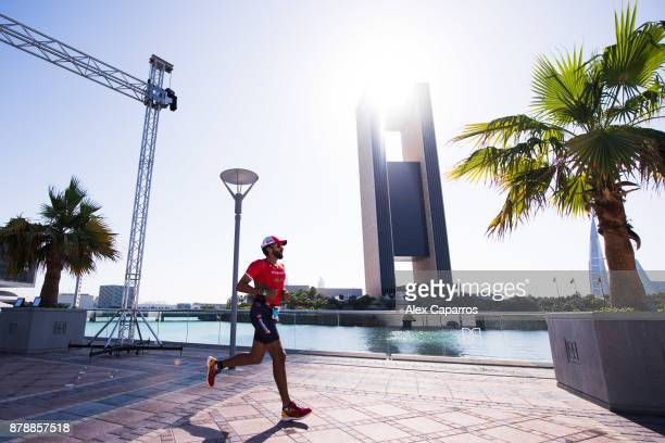 Sheikh Nasser Bin Hamad Al Khalifa competes during the run course of IRONMAN 703 Middle East Championship Bahrain on November 25 2017 in Bahrain...