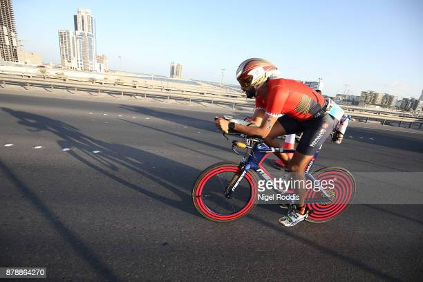 Sheikh Nasser Bin Hamad Al Khalifa competes in the bike section of Ironman 703 Middle East Championship Bahrain on November 25 2017 in Bahrain Bahrain