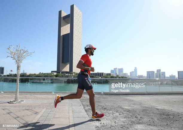 Sheikh Nasser Bin Hamad Al Khalifa competes in the run section of Ironman 703 Middle East Championship Bahrain on November 25 2017 in Bahrain Bahrain