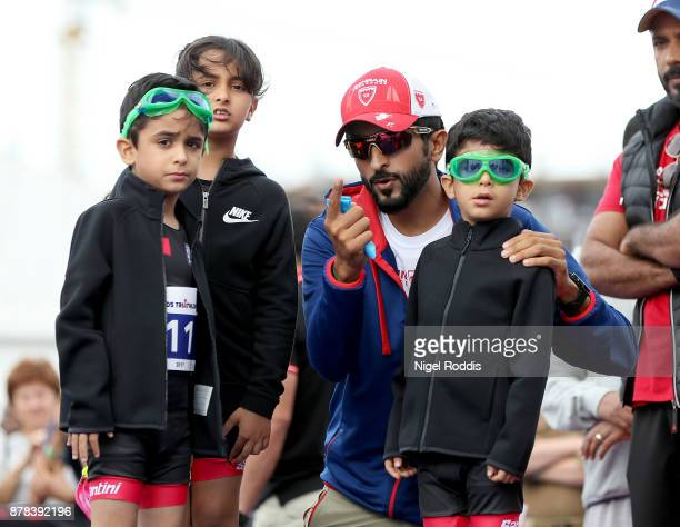 Sheikh Nasser Bin Hamad Al Khalifa with his children before the Iron Kids race of IRONMAN 703 Middle East Championship Bahrain on November 24 2017 in...