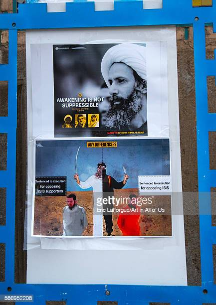 Sheikh nimr alnimr propaganda billboard in a mosque after his execution by saudi arabia isfahan province isfahan Iran on January 5 2016 in Isfahan...