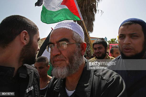 Sheikh Raed Salah head of the Islamic Movement in Israel attends the annual Land Day protest March 28 2008 in Jaffa a mixed JewishArab suburb of Tel...