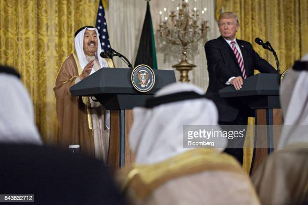 Sheikh Sabah AlAhmed AlSabah Kuwait's emir left speaks as US President Donald Trump listens during a news conference in the East Room of the White...