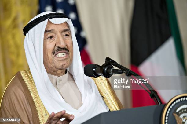 Sheikh Sabah AlAhmed AlSabah Kuwait's emir speaks during a news conference with US President Donald Trump not pictured in the East Room of the White...