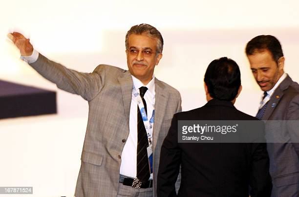 Sheikh Salman Bin Ebrahim Al Khalifa of Bahrain reacts at the Congress after he was elected as the 11th President of the Asian Football Confederation...