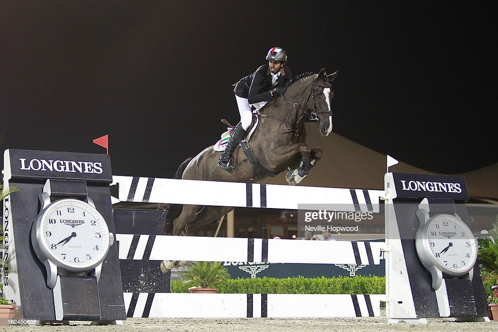 Sheikh Shakboot bin Nahayan Al Nahyan of the United Arab Emirates rides Valentino Balia during the President of the UAE Showjumping Cup - Furusiyyah Nations Cup Series presented by Longines on February 23, 2013 in Al Ain, United Arab Emirates.