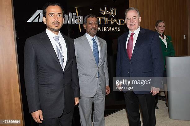 Sheikh Sultan Bin Tahnoon al Nahyan Sheikh Ahmed bin Saeed Al Maktoum and James Hogan PCEO of Etihad Airways visit the AlitaliaEtihad pavillon of the...