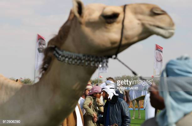 Sheikh Sultan Bin Zayed alNahyan attends the Sheikh Sultan Bin Zayed alNahyan camel festival at the Shweihan racecourse in alAin on the outskirts of...