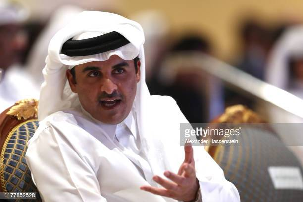 Sheikh Tamim bin Hamad Al Thani attends the Opening Ceremony on day one of 17th IAAF World Athletics Championships Doha 2019 at Khalifa International...