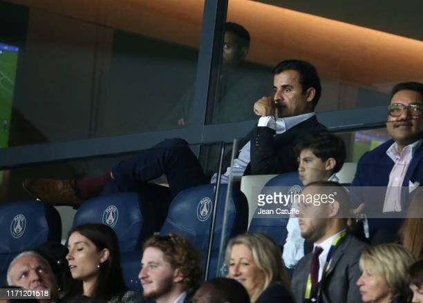 Sheikh Tamim bin Hamad Al Thani, Emir of Qatar and owner of PSG attends the Ligue 1 match between Paris Saint-Germain and Stade de Reims at Parc des...