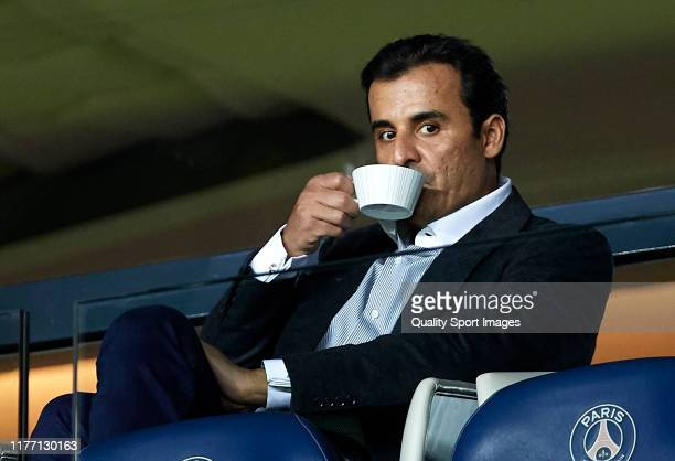 Sheikh Tamim bin Hamad Al Thani, Emir of Qatar and owner of PSG attends the Ligue 1 match between Paris Saint-Germain and Stade Reims at Parc des...