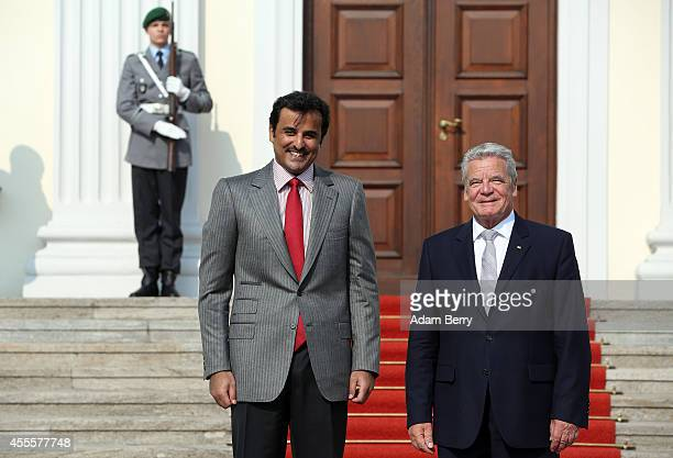 Sheikh Tamim bin Hamad Al Thani the eighth and current Emir of the State of Qatar meets with German President Joachim Gauck at Bellevue Palace on...