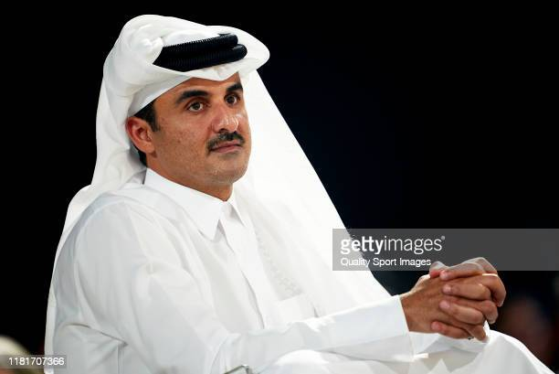 Sheikh Tamim bin Hamad Al Thani, the Emir of Qatar attends the Women's final match between Great Britain and Spain during day five of the ANOC World...