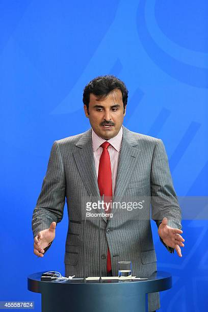 Sheikh Tamim bin Hamad Al Thani the Emir of Qatar speaks during a news conference at the Chancellery in Berlin Germany on Wednesday Sept 17 2014...