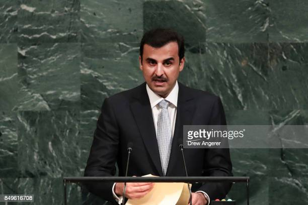 Sheikh Tamim bin Hamad AlThani Amir of the State of Qatar addresses the United Nations General Assembly at UN headquarters September 19 2017 in New...